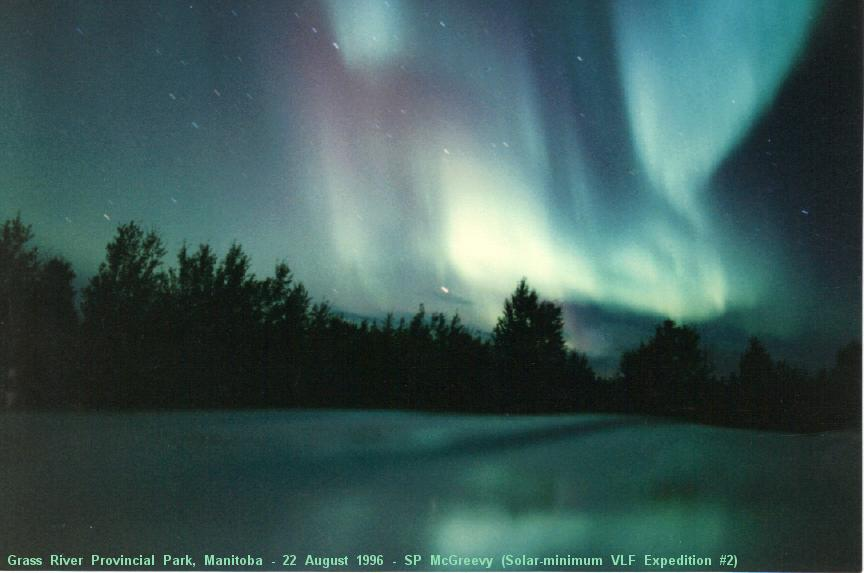 Photo of gorgeous aurora over northern Manitoba, Canada, taken during Manitoba Solar-Minimum VLF Expedition, way back on 22 August 1996