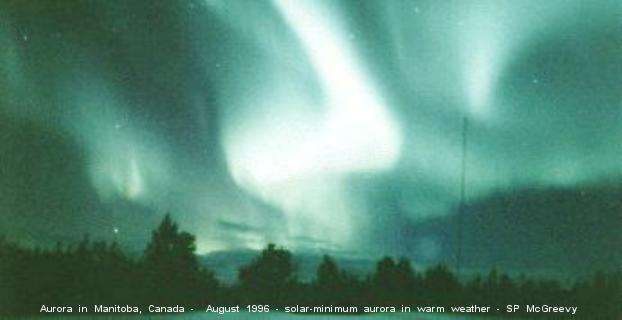 Gorgeous auroral curtains of 23 August 1996 in Manitoba, Canada