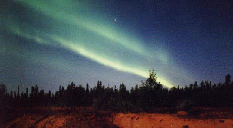 Photo of two parallel auroral curtains/bands
