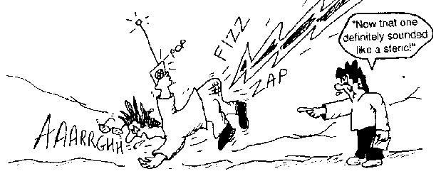 whimsical cartoon image of a fellow holding a receiver and getting zapped by lightning